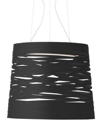 Leuchten - Pendelleuchten - Tress Pendelleuchte LED / Ø 48 x H 41 cm - Foscarini - Schwarz - Glasfaser, Lackiertes Verbundmaterial, Opalglas, Stahl