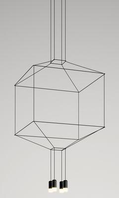 Leuchten - Pendelleuchten - Wireflow Pendelleuchte / 80 x 80 x H 77,5 cm - Vibia - Schwarz - Gewebe, Glas, lackiertes Metall, Teflon