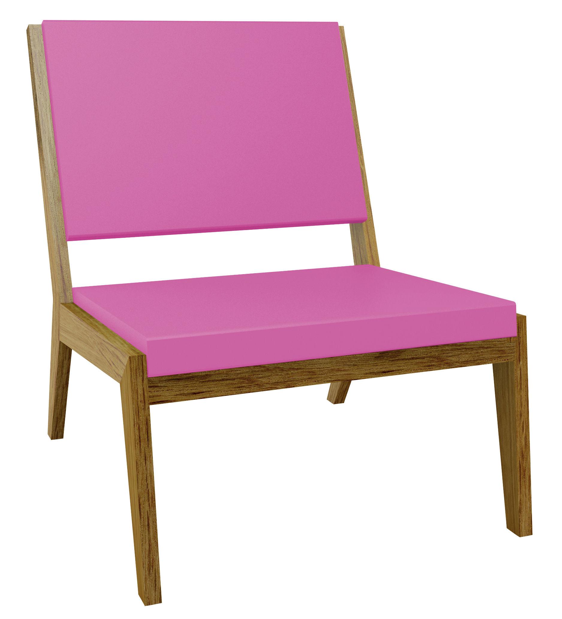 Arredamento - Poltrone design  - Poltrona bassa Room 26 di Quinze & Milan - Rovere/Cuscino rosa - Rovere, Schiuma di poliuretano
