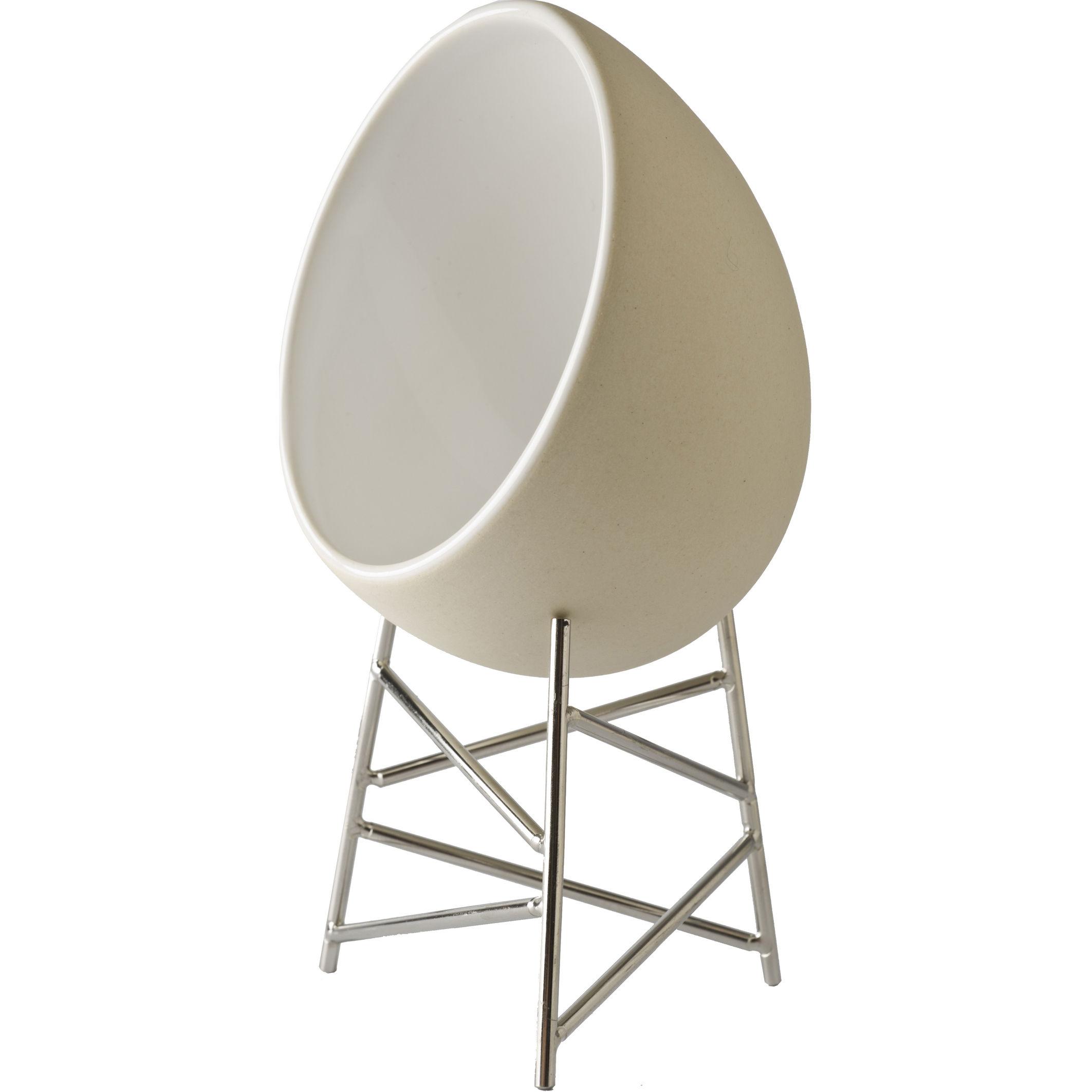Tavola - Ciotole - Recipiente da forno Le nid - Per cuocere e servire le uova di Alessi - Bianco con supporto in acciaio - Acciaio, Ceramica