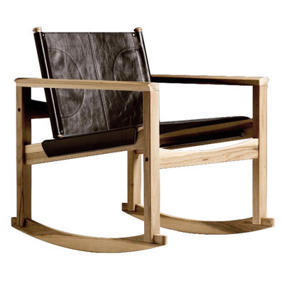 Furniture - Armchairs - Peglev Rocking chair - Rocking chair by Objekto - Oiled oak structure / Macassar leather seat - Leather, Oak