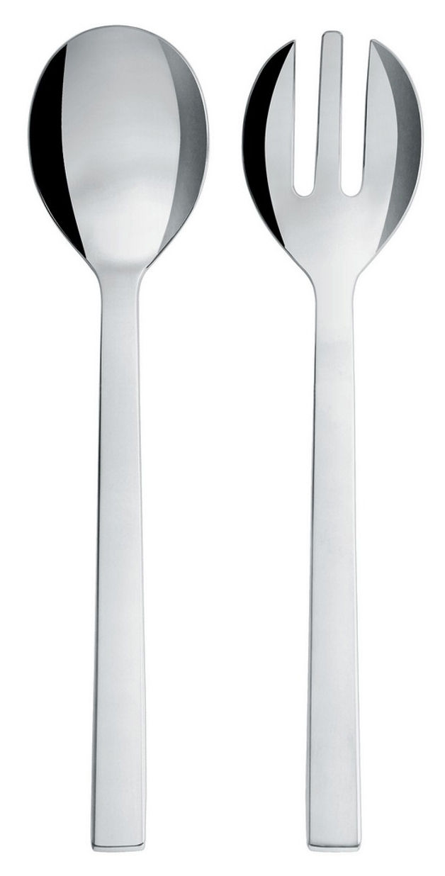 Tableware - Serving Cutlery - Santiago Salad servers by Alessi - Polished steel - Polished stainless steel