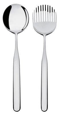 Tischkultur - Besteck - Collo-Alto Salatbesteck - Alessi - Stahl, poliert, mit Spiegeloberfläche - Rostfreier Stahl 18/10