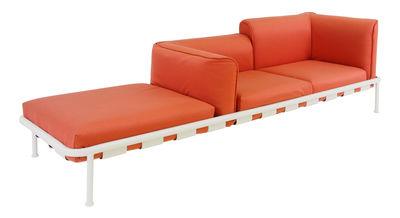Möbel - Sofas - Dock Sofa / 2-Sitzer + Extra-Sitzfläche - L 289 cm - Emu - Rot / Gestell weiß - Ferrari Batyline-Stoff, klarlackbeschichtetes Aluminium