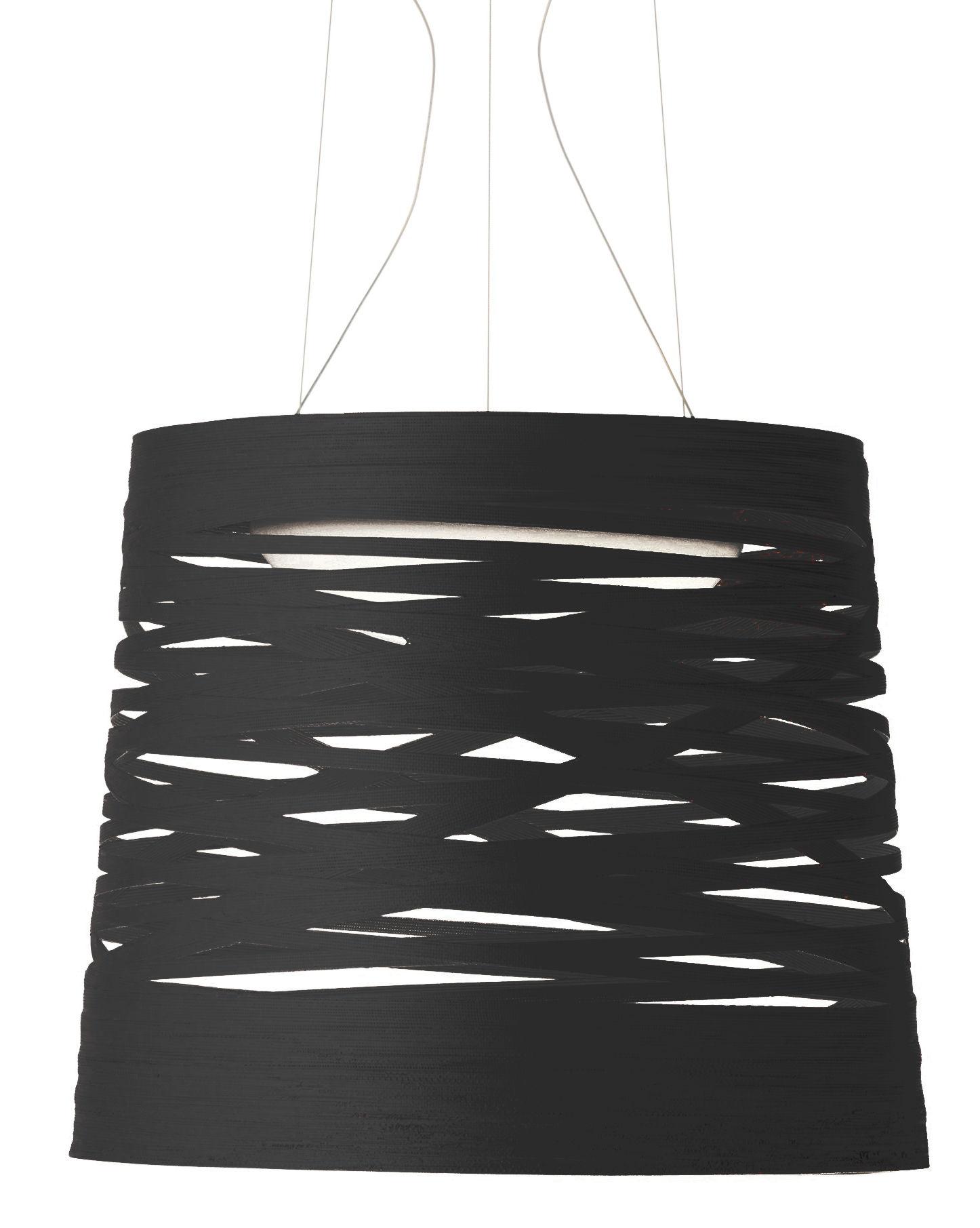 Illuminazione - Lampadari - Sospensione Tress - LED / Ø 48 x H 41 cm di Foscarini - Nero - Acciaio, Fibra di vetro, Materiale composito laccato, Vetro opalino
