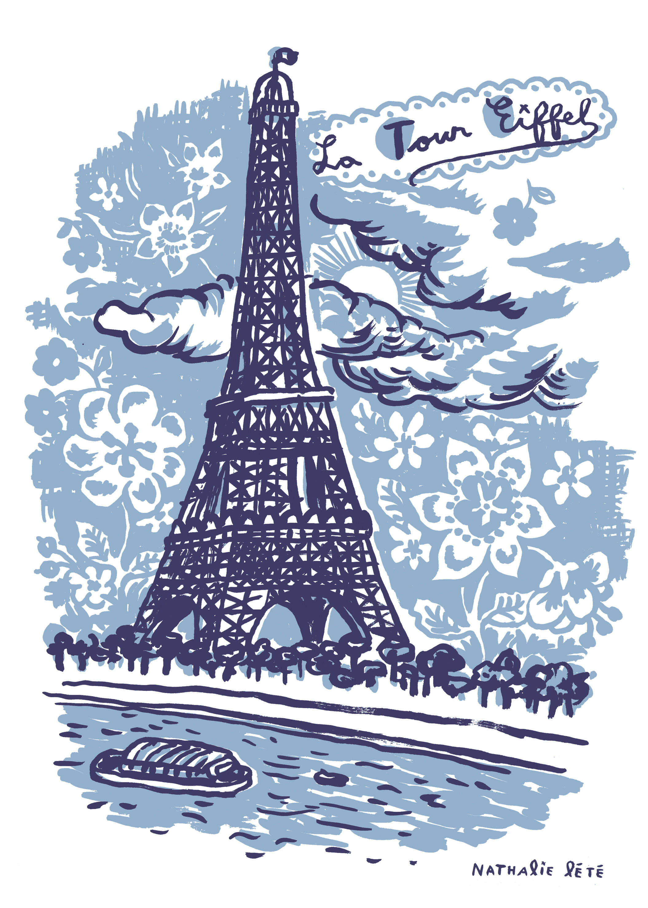 Dekoration - Für Kinder - La Tour Eiffel Sticker 25 x 35 cm - Domestic - Blau - Vinyl