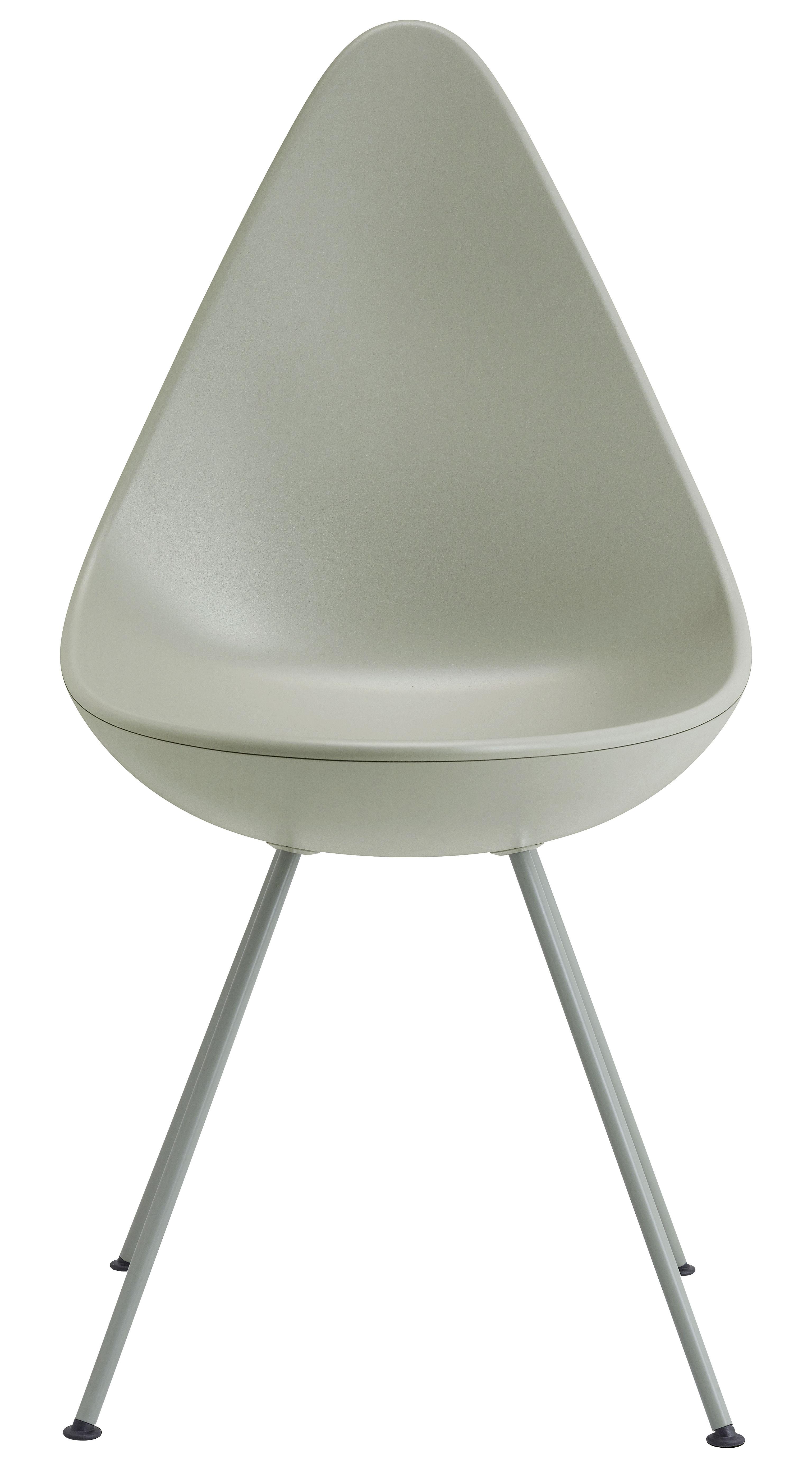 Möbel - Stühle  - Drop Stuhl / Sitzschale aus Kunststoff - Neuauflage des Originals von 1958 - Fritz Hansen - Grau - lackierter Stahl, Nylon, Plastique ABS