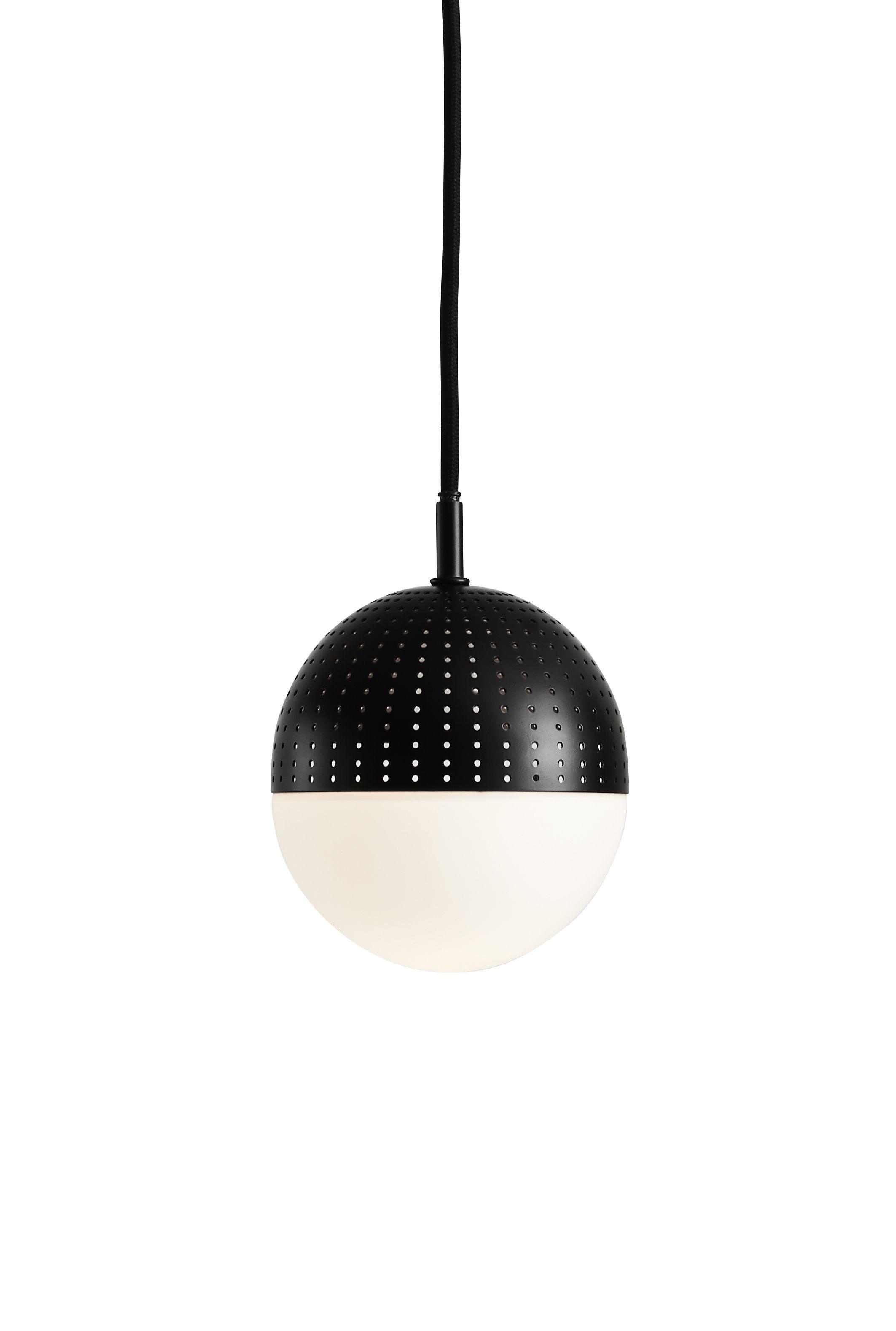 Luminaire - Suspensions - Suspension Dot S / Ø 12 x H 13 cm - Woud - Noir - Métal laqué, Verre opalin