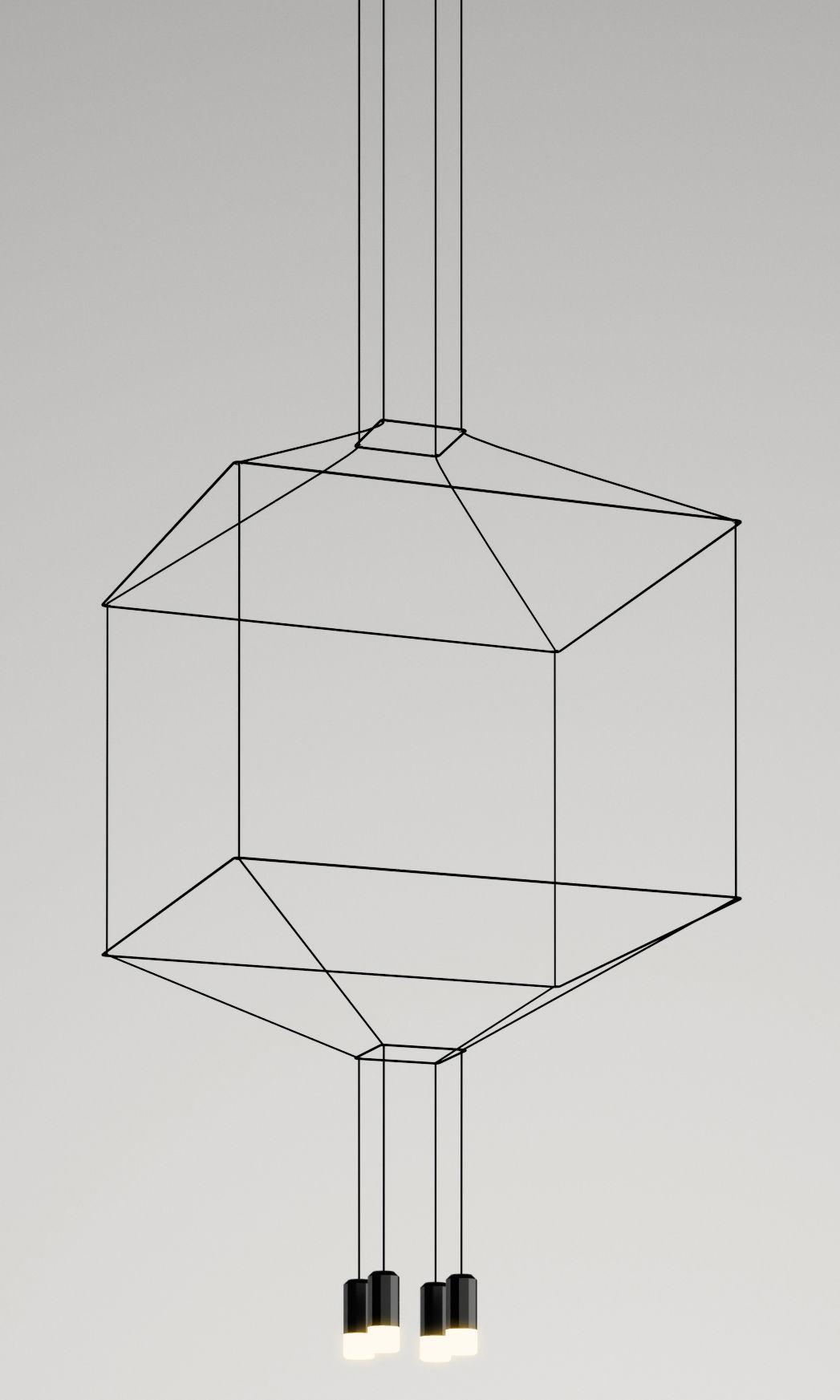 Luminaire - Suspensions - Suspension Wireflow / 80 x 80 x H 77,5 cm - Vibia - Noir - Métal laqué, Teflon, Tissu, Verre