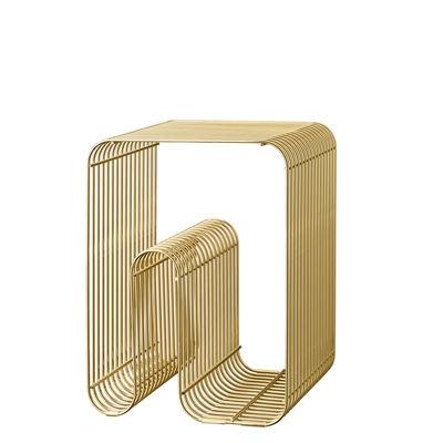 Arredamento - Tavolini  - Tavolino d'appoggio Curva - / Sgabello di AYTM - Ottone - Ferro placcato in ottone