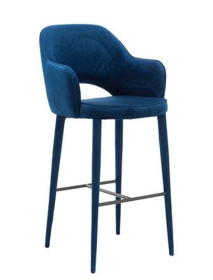 Furniture - Bar Stools - Cosy Bar chair - / Velvet - H 75 cm by Pols Potten - Blue - Foam, Metal, Velvet