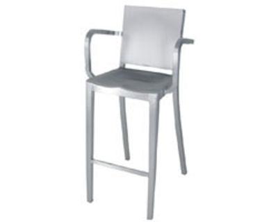 Furniture - Bar Stools - Hudson Outdoor Bar chair - Armrests - H 75 cm - Métal by Emeco - Brushed aluminium - Aluminium recyclé