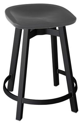 Furniture - Bar Stools - Su Bar stool - H 61 cm - Polyethylen seat by Emeco - Seat : Charcoal - Legs : Black Aluminium - Recycle aluminium, Recycled polypropylene