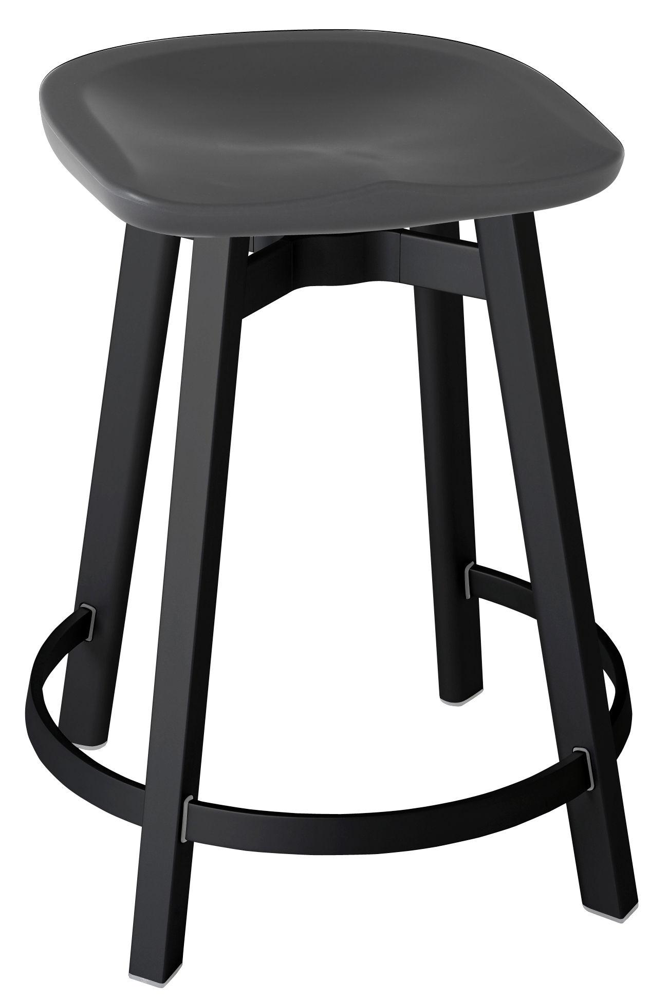 Furniture - Bar Stools - Su Bar stool - H 61 cm - Polyethylen seat by Emeco - Seat : Charcoal - Legs : Black Aluminium - Aluminium recyclé, Recycled polypropylene