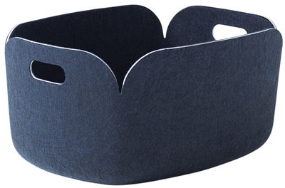 Decoration - Boxes & Baskets - Restore Basket - Felt - 35 x 48 cm by Muuto - Night blue - Recycled felt