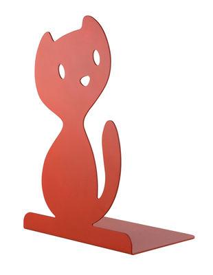 Decoration - Children's Home Accessories - Vigo Book end - / Cat - Acier by A di Alessi - Cat / Red - Painted steel