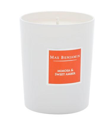 Bougie parfumée Mimosa ambré - 190gr - Max Benjamin blanc,orange en verre