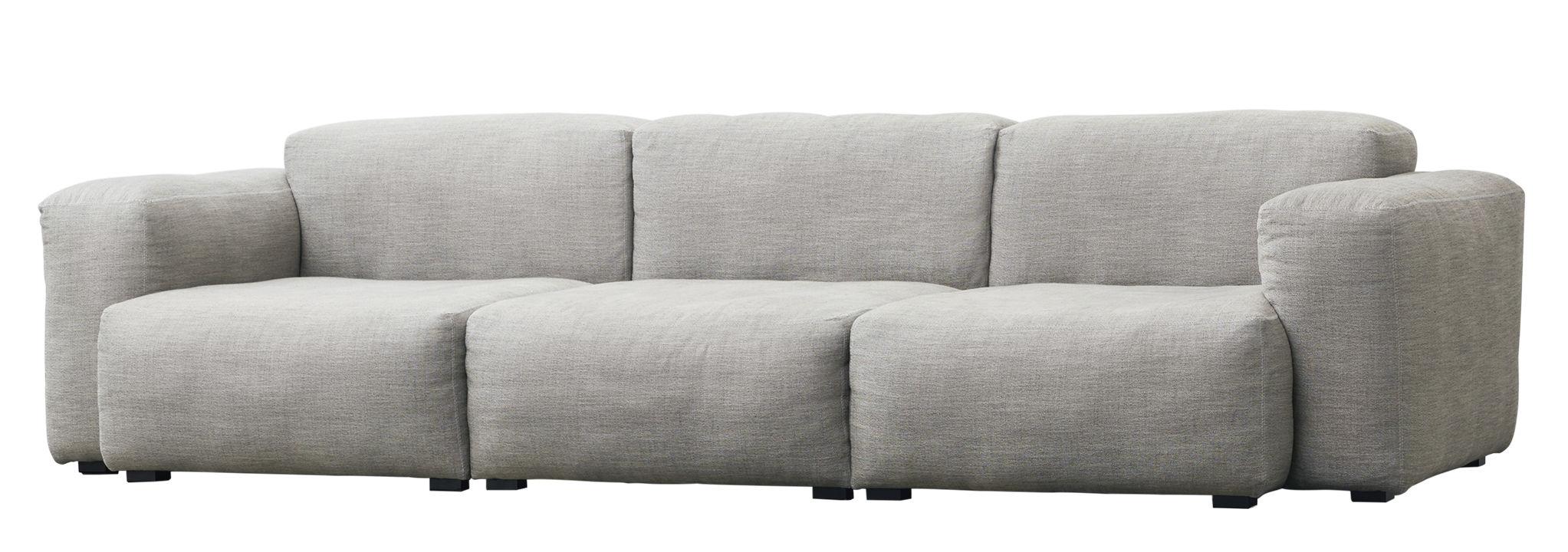 Mobilier - Canapés - Canapé droit Mags Soft 3 places / L 268 cm - Tissu Ruskin - Hay - Gris clair - Contrecollé de pin, Mousse polyuréthane, Pin teinté, Tissu Ruskin