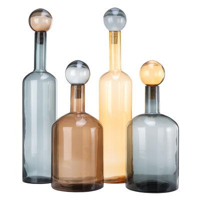 Decoration - Vases - Bubbles & Bottles XXL Carafe - / Glass - Set of 4 / H 87 cm by Pols Potten - Blue, Amber, Brown - Glass