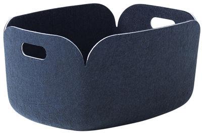 Accessori - Accessori ufficio - Cestino Restore / Feltro - 35 x 48 cm - Muuto - Blu notte - Feltro riciclato