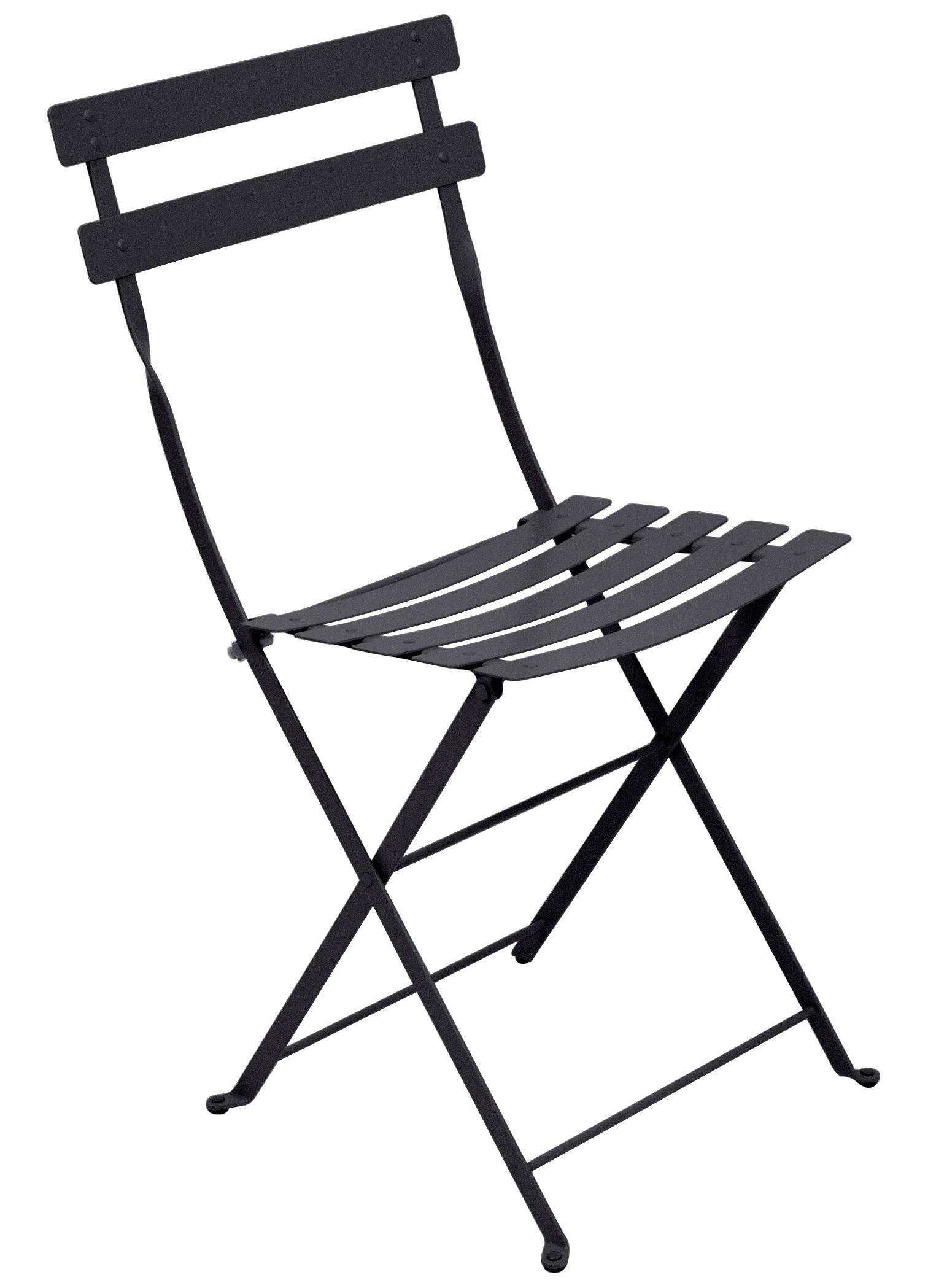 Mobilier - Chaises, fauteuils de salle à manger - Chaise pliante Bistro / Métal - Fermob - Carbone - Acier laqué