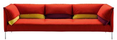 Arredamento - Divani moderni - Divano destro Undercover - / 3 posti - L 257 cm di Zanotta - Rosso / Cuscini: giallo & bordò - Acciaio, Alluminio lucido, Piume d'oca, Schiuma di poliuretano, Tessuto