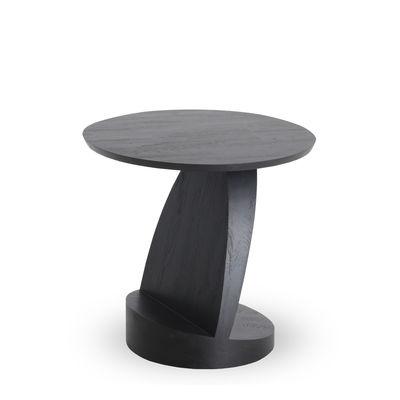 Furniture - Coffee Tables - Oblic End table - / Teak - Ø 52 cm by Ethnicraft - Black - FSC-certified solid teak