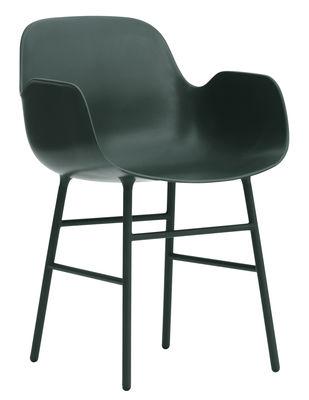 Mobilier - Chaises, fauteuils de salle à manger - Fauteuil Form / Pied métal - Normann Copenhagen - Vert - Acier laqué, Polypropylène