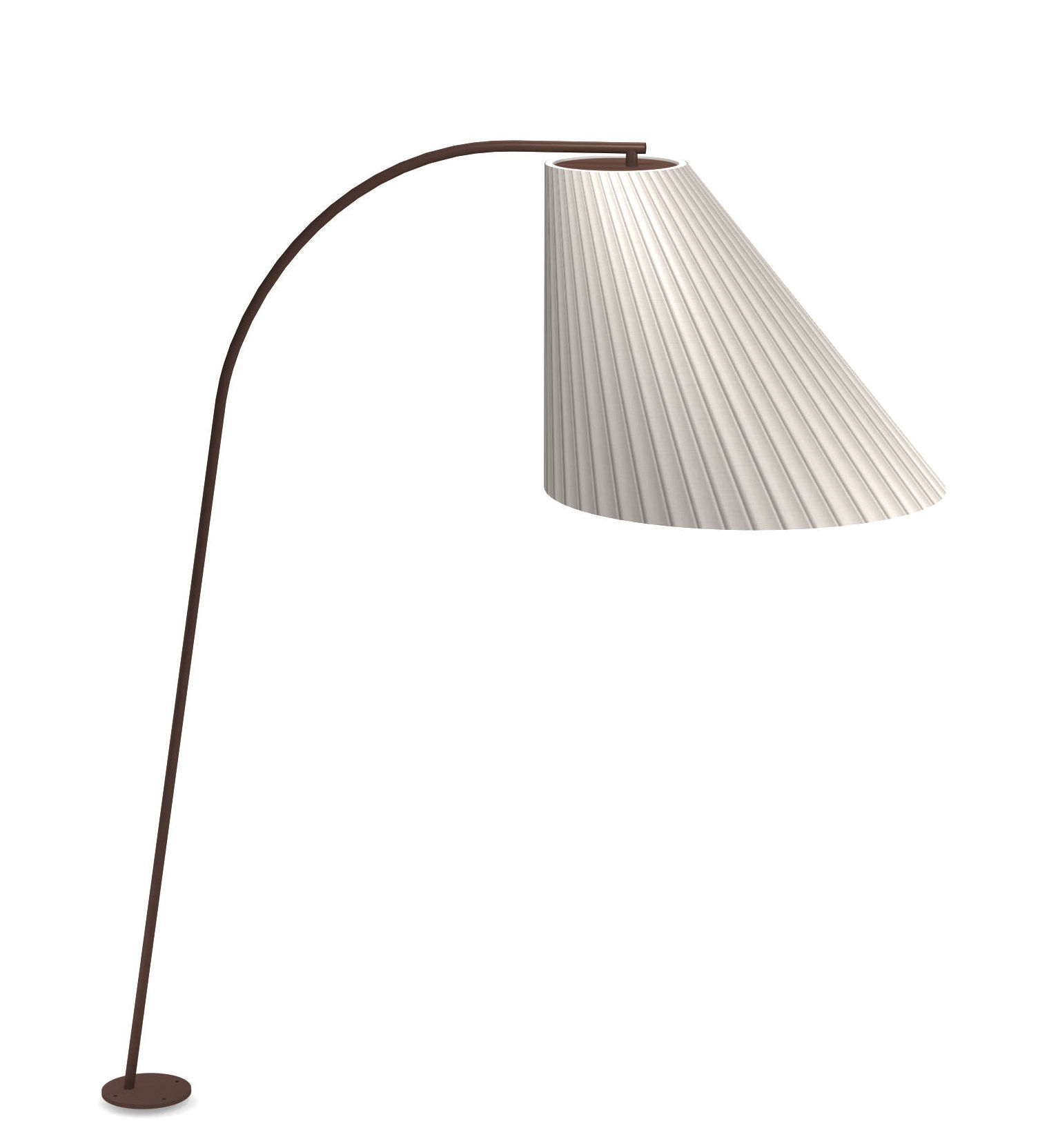 Lighting - Floor lamps - Cone LED Floor lamp - / H 271 cm by Emu - Brown / White diffuser - Corten steel, Polycarbonate, Synthetic fabric