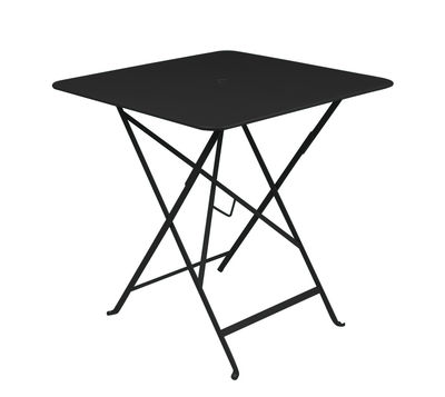 Outdoor - Garden Tables - Bistro Foldable table - 71 x 71 cm - Foldable - With umbrella hole by Fermob - Liquorice - Lacquered steel