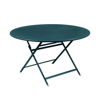 Outdoor - Garden Tables - Caractère Foldable table - / Ø 128 cm / 7 people by Fermob - Acapulco blue - Painted steel