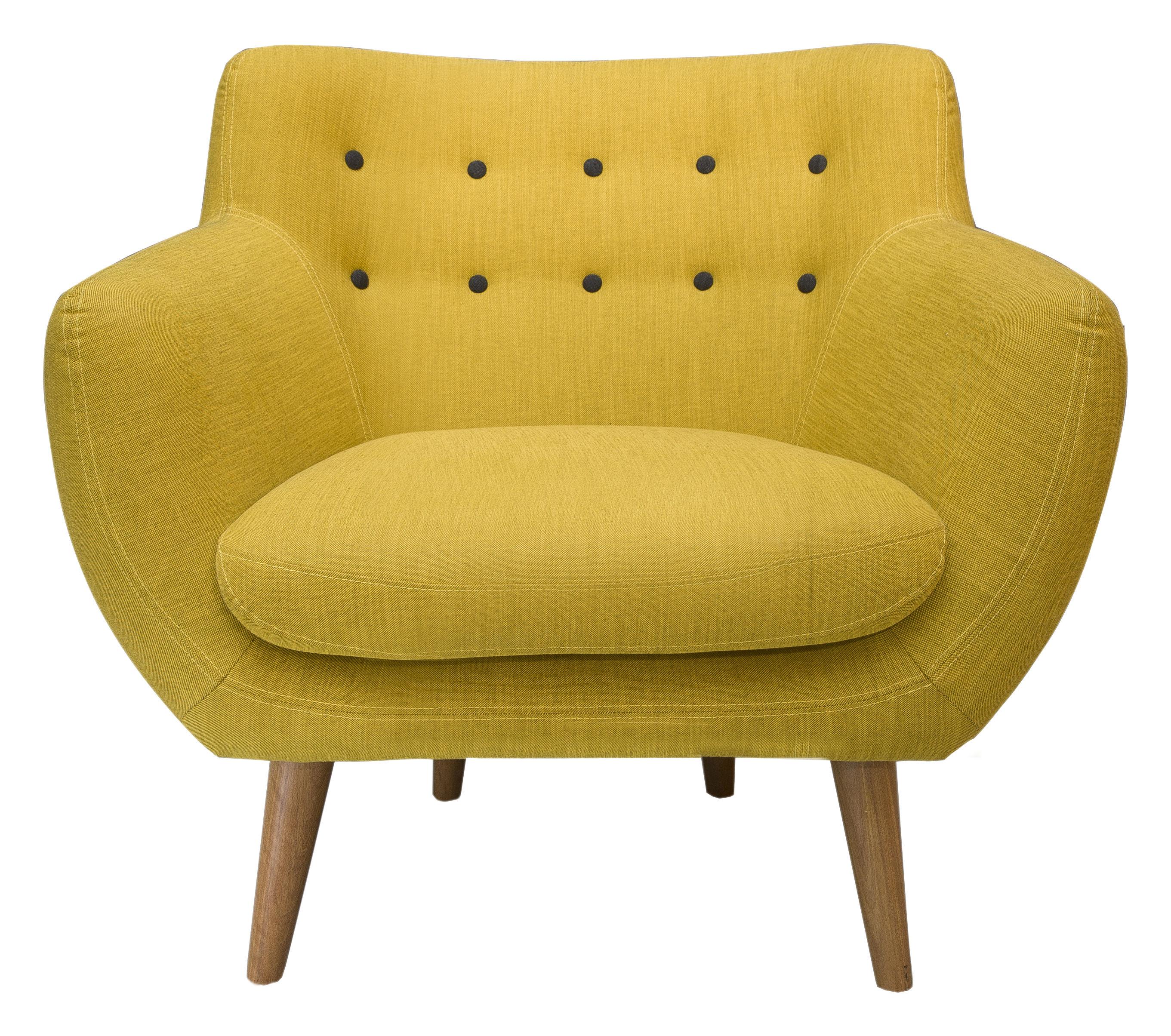 Möbel - Lounge Sessel - Coogee Gepolsterter Sessel - Sentou Edition - Zitronengelb / pechschwarz - Gewebe, Holz, Schaumstoff