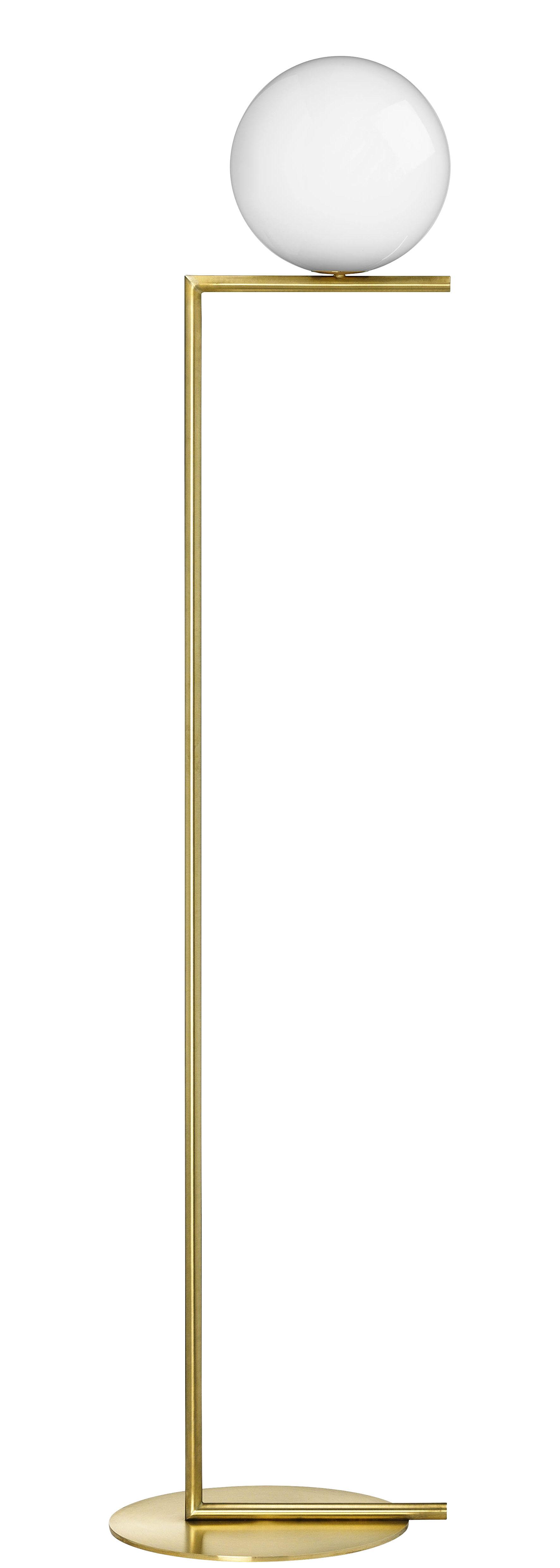Illuminazione - Lampade da terra - Lampada a stelo IC F1 - / H 135 cm di Flos - Ottone - Acciaio, vetro soffiato