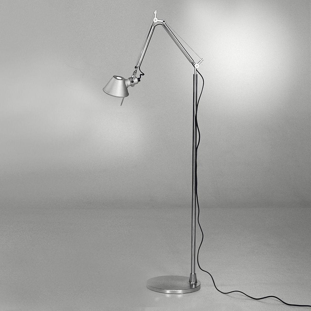Illuminazione - Lampade da terra - Lampada a stelo Tolomeo micro LED Floor - LED di Artemide - LED - Alluminio - Alluminio anodizzato, Alluminio lucido