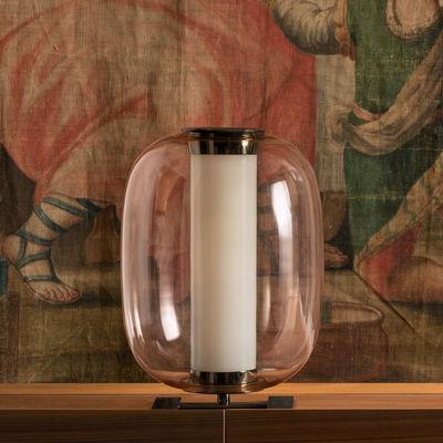 Illuminazione - Lampade da tavolo - Lampada da tavolo Meridiano LED - / Ø 31 x H 43 cm di Fontana Arte - Rose - Metallo nichelato, vetro soffiato