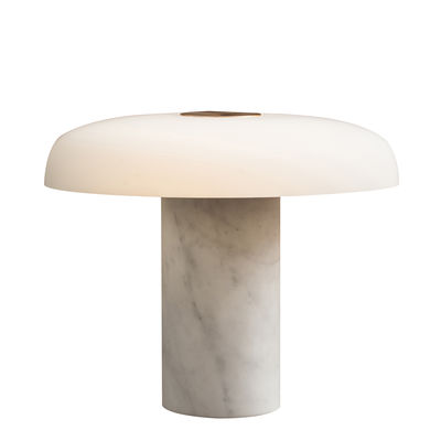 Illuminazione - Lampade da tavolo - Lampada da tavolo Tropico Grande - / LED - H 40 cm / Vetro & marmo di Fontana Arte - Marbre blanc - Marmo, Metallo galvanizzato, vetro soffiato