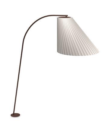 Luminaire - Lampadaires - Lampadaire Cone LED / H 271 cm - Emu - Lampadaire / Blanc & pied marron - Acier corten, Polycarbonate, Tissu synthétique