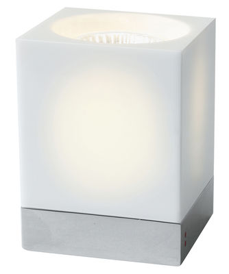 Lampe de table Cubetto - White Glass - Fabbian blanc en verre
