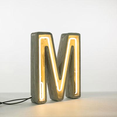 Lampe de table Néon Alphacrete / Lettre M - Intérieur / extérieur - Seletti blanc,gris en pierre