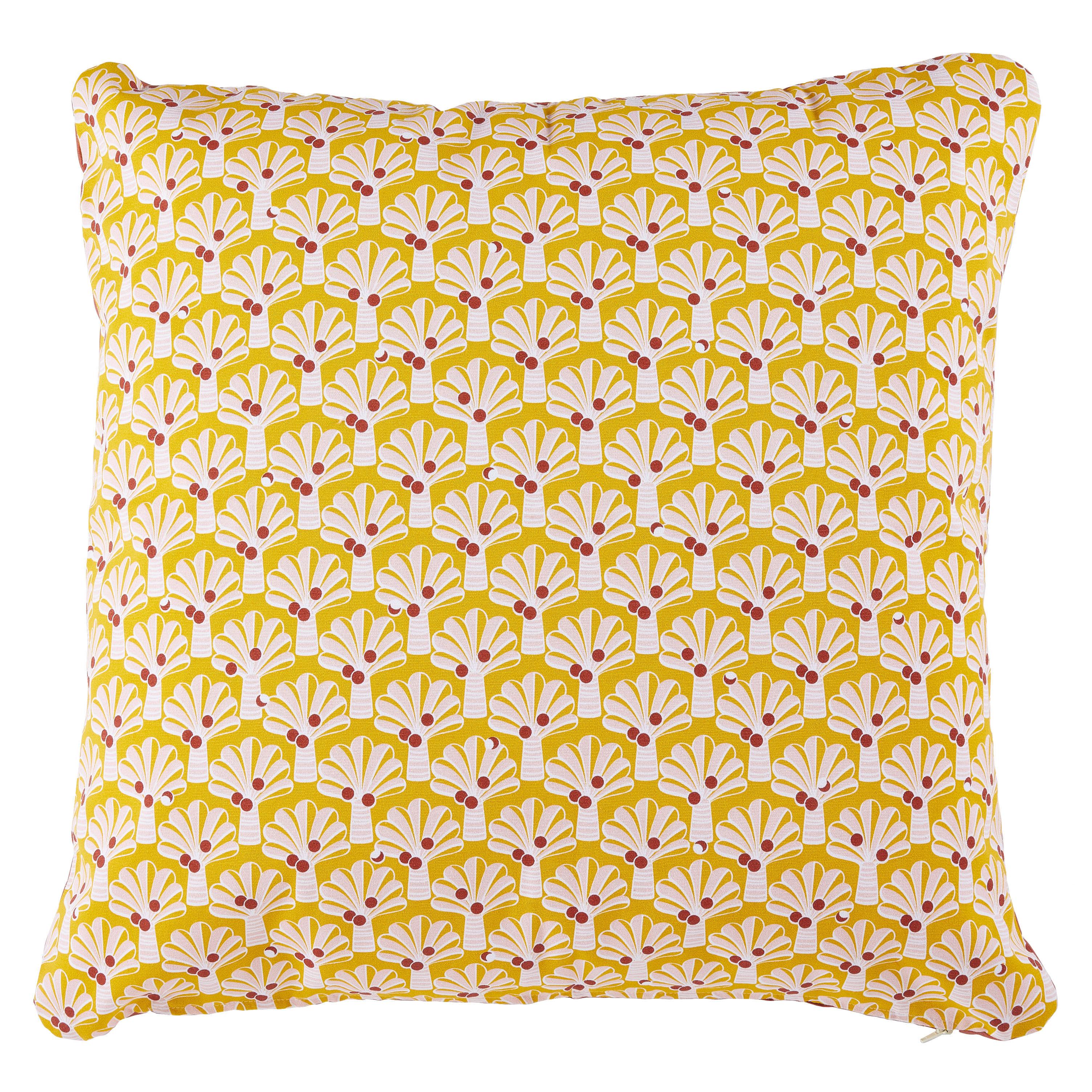 Decoration - Cushions & Poufs - Envie d'ailleurs - Cocotiers Outdoor cushion - / 70 x 70 cm by Fermob - Honey - Foam, Water repellant cotton