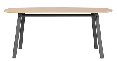 Furniture - Dining Tables - Céleste Oval table - L 180 cm by Hartô - Slate grey - Metal, Plywood