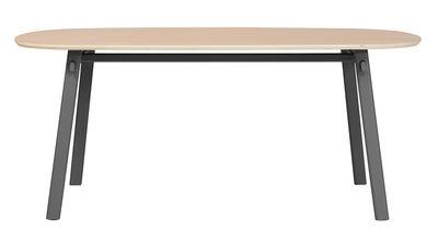 Möbel - Tische - Céleste Ovaler Tisch / L 180 cm - Hartô - Schiefergrau - Furnier, Metall