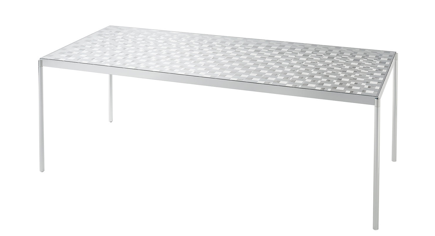 Furniture - Dining Tables - Fragment Rectangular table - / Glass with chequered pattern - 189 x 87 cm by Glas Italia - 189 x 87 cm / Mirrored & transparent - Extra-clear tempered glass, Polished aluminium