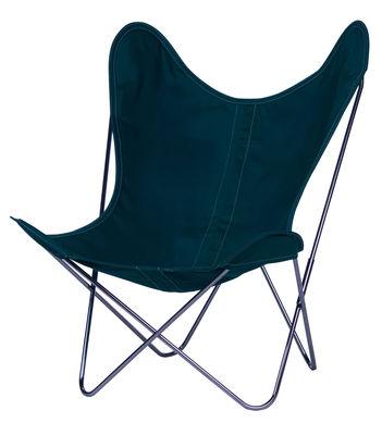 Möbel - Lounge Sessel - AA Butterfly Sessel Stoff / Gestell chrom-glänzend - AA-New Design - Gestell chrom-glänzend / Bezug Alge (dunkelgrün) - Leinen, verchromter Stahl