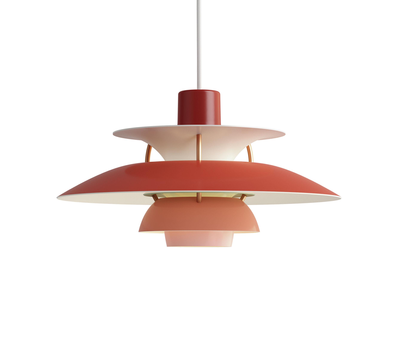 Luminaire - Suspensions - Suspension PH5Mini / Ø 30 cm - Louis Poulsen - Rouge / Tiges bronze - Aluminium