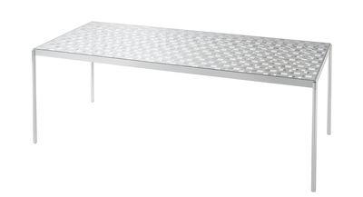 Mobilier - Tables - Table Fragment / Verre motif damier - 189 x 87 cm - Glas Italia - 189 x 87 cm / Miroir & transparent - Aluminium poli, Verre extra-clair trempé