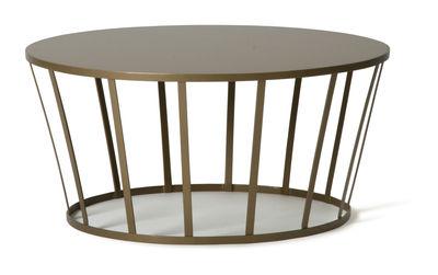 Table basse Hollo / Ø 70 x H 33 cm - Petite Friture or mat en métal
