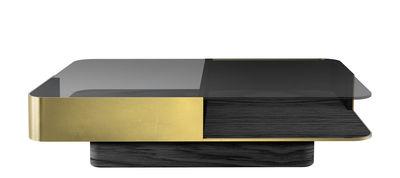 Mobilier - Tables basses - Table basse Lounge / Verre - 120 x 80 cm - RED Edition - Verre noir / Laiton - Hêtre massif teinté, Laiton massif, Verre fumé