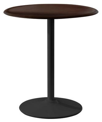 Table ronde Pipe / Ø 66 cm - Magis noir/bois naturel en métal/bois