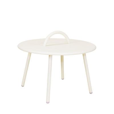 Image of Tavolino Swim Lounge - / 1 maniglia - Ø 51 x H 30 cm di Bibelo - Bianco/Beige - Metallo
